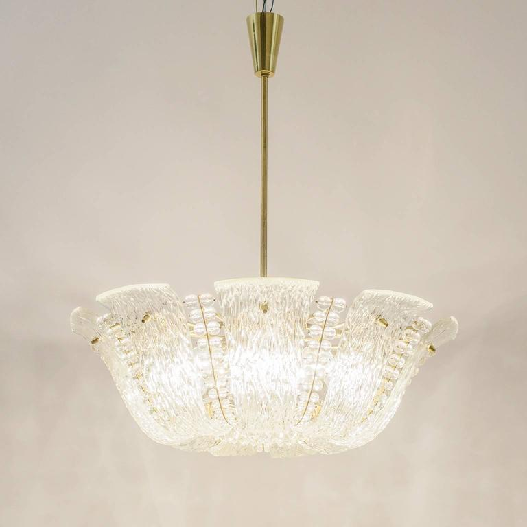 Large Textured and Crystal Glass Chandelier by J.T. Kalmar 9