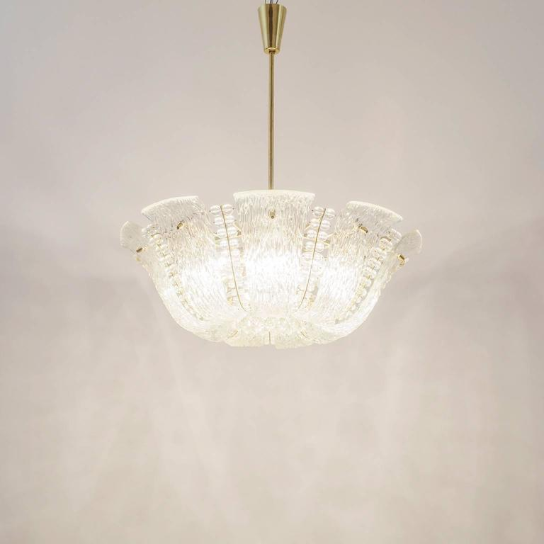 Large Textured and Crystal Glass Chandelier by J.T. Kalmar 10