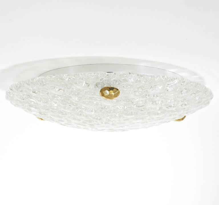 German Bubble Textured Glass Flush Mount, 1960s For Sale