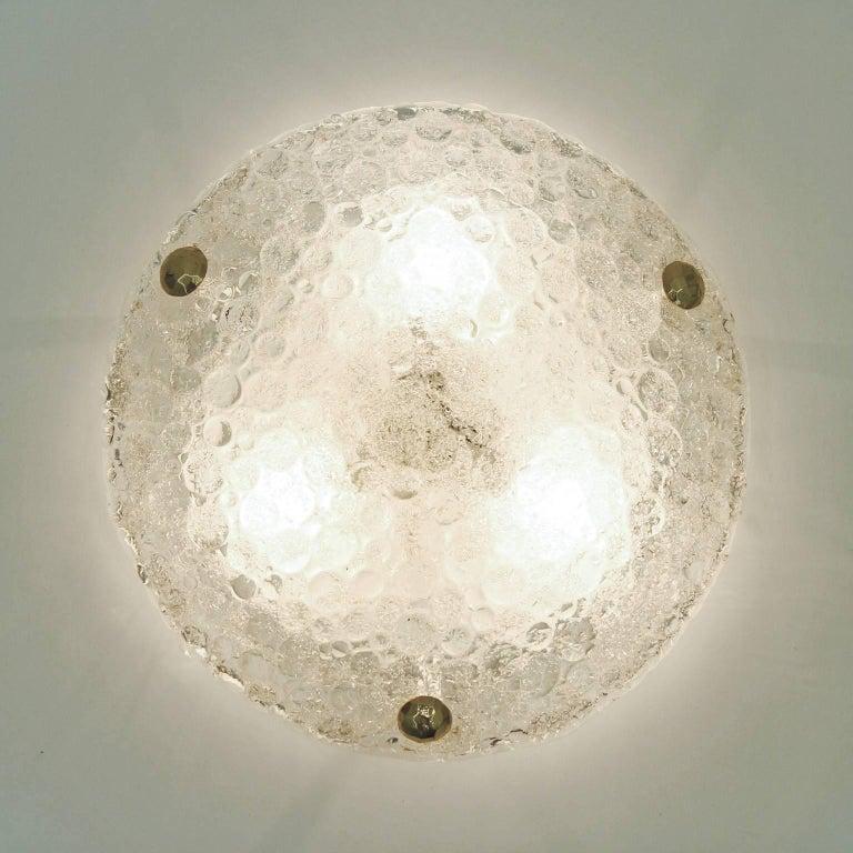 Metal Bubble Textured Glass Flush Mount, 1960s For Sale