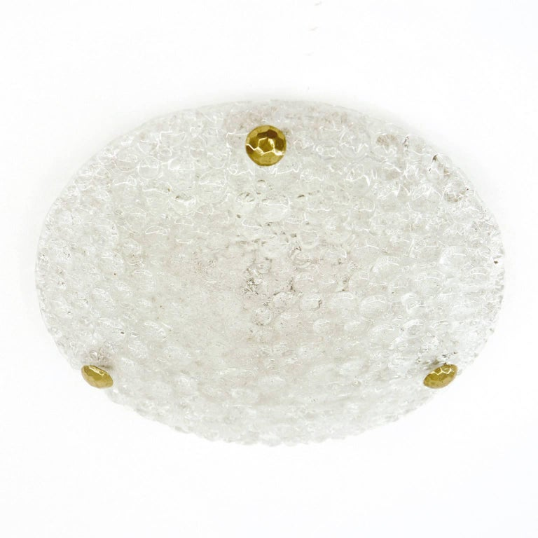 Mid-Century Modern Bubble Textured Glass Flush Mount, 1960s For Sale