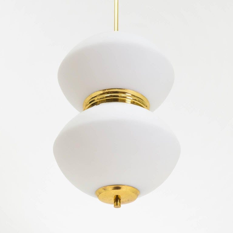 Mid-20th Century Stilnovo Satin Glass and Brass Pendants, 1950s For Sale