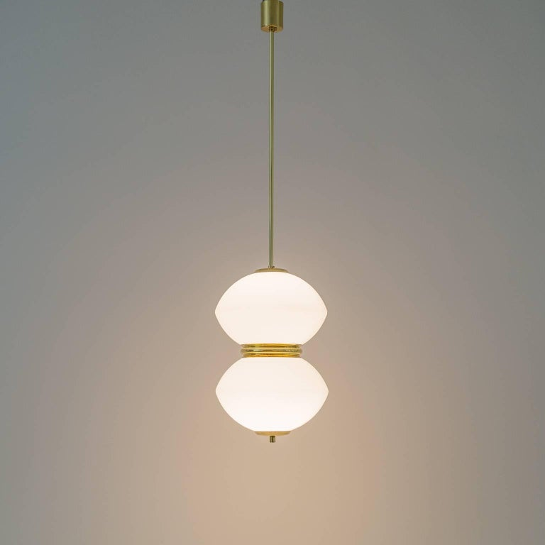 Stilnovo Satin Glass and Brass Pendants, 1950s For Sale 3