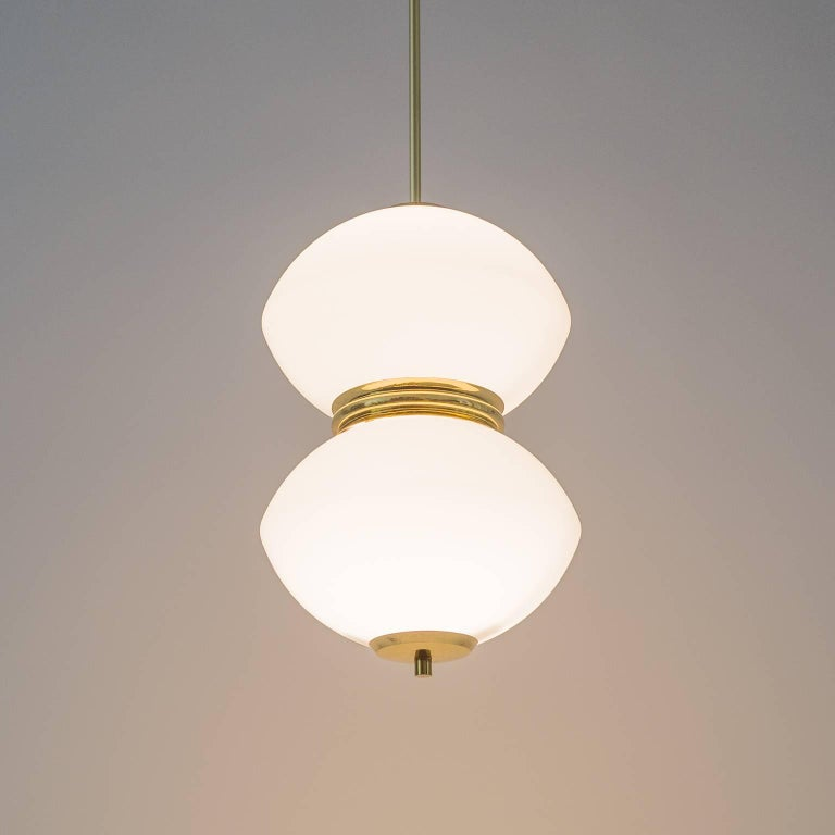 Stilnovo Satin Glass and Brass Pendants, 1950s For Sale 4