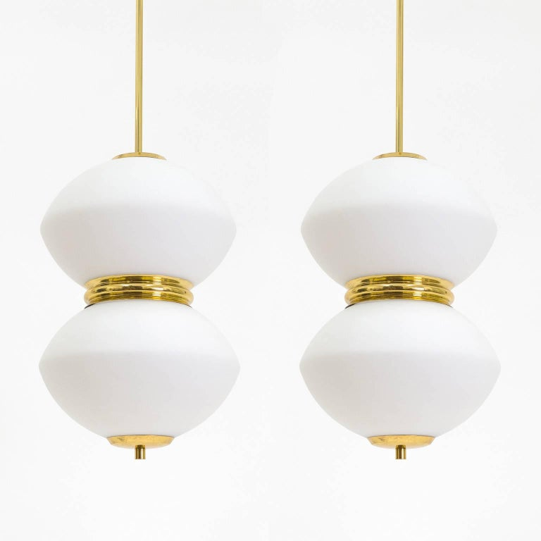 Stilnovo Satin Glass and Brass Pendants, 1950s For Sale 1