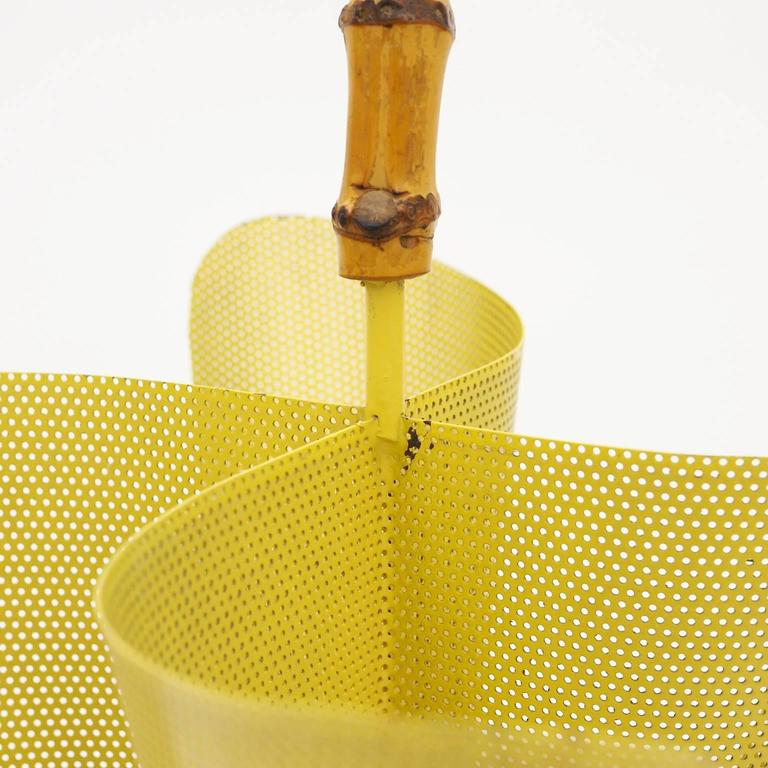 Lacquered Unique Umbrella Stand in Perforated Metal, Bamboo and Brass, 1950s For Sale