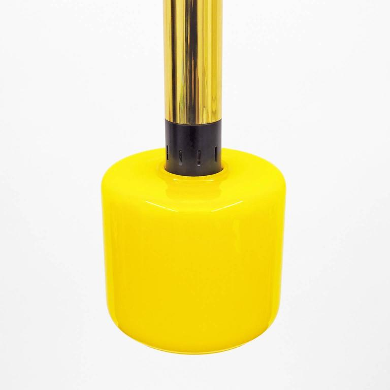 Lacquered Pair of Stilnovo Yellow Glass and Brass Pendants, 1950s For Sale