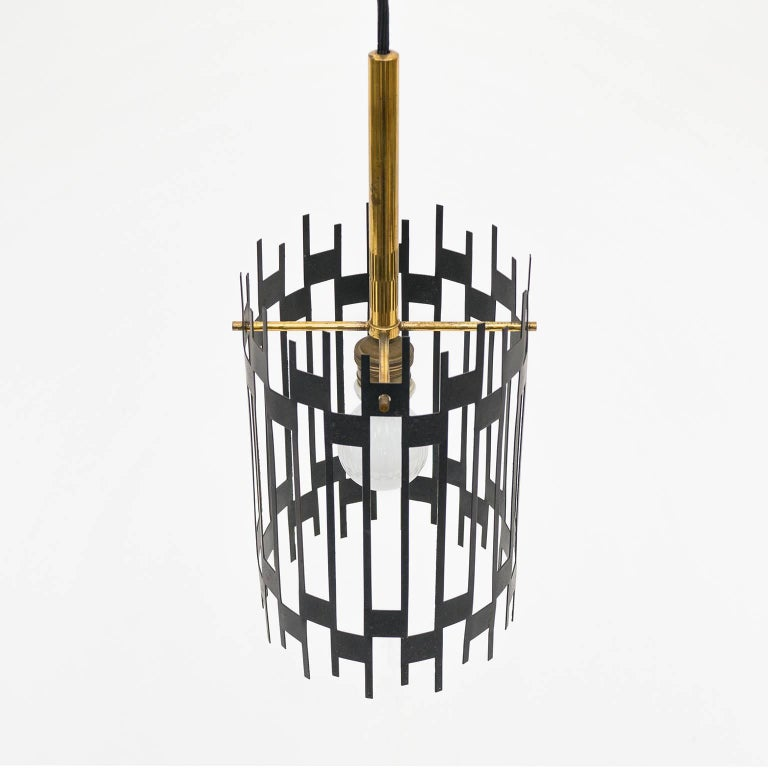 Graphical Italian 'Cage' Pendant, 1950s 4