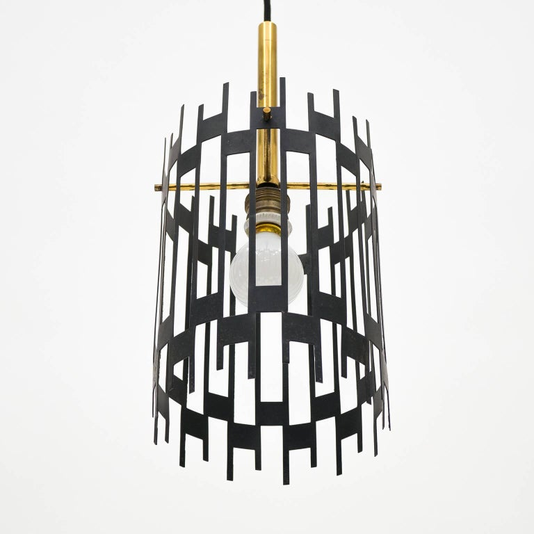 Graphical Italian 'Cage' Pendant, 1950s 7