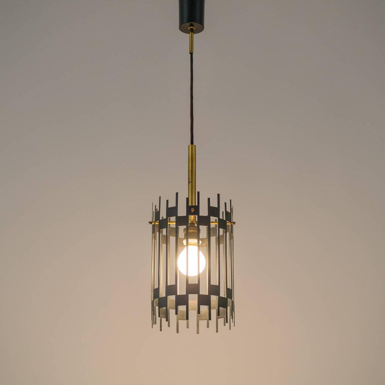 Graphical Italian 'Cage' Pendant, 1950s 9