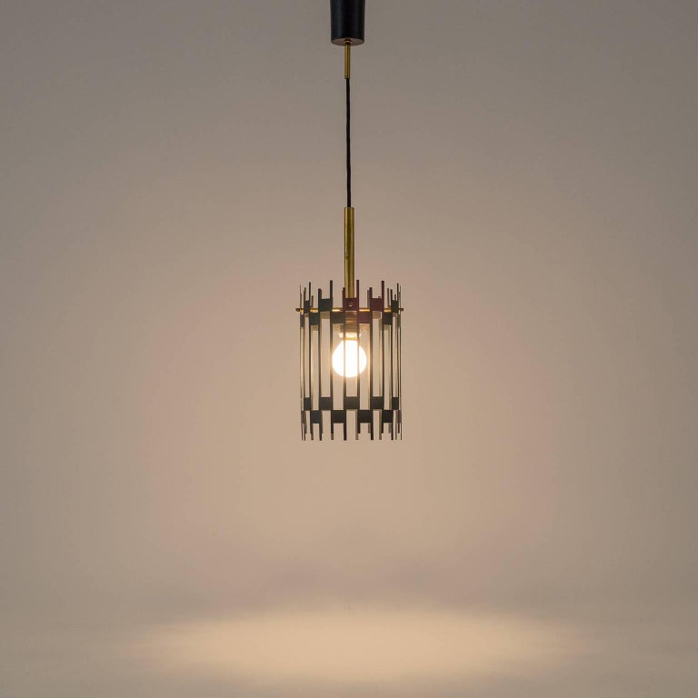 Graphical Italian 'Cage' Pendant, 1950s 10
