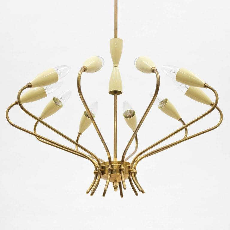Ten-Arm Italian Brass Chandelier by Lumi Milano, 1950s 7