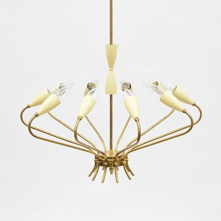 Ten-Arm Italian Brass Chandelier by Lumi Milano, 1950s 2