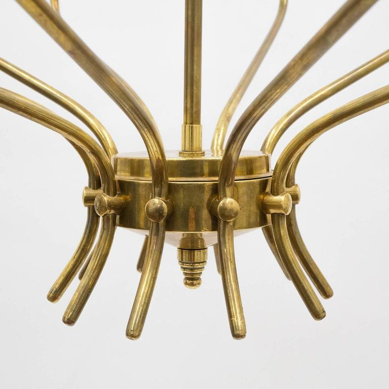 Ten-Arm Italian Brass Chandelier by Lumi Milano, 1950s 5