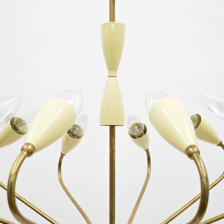 Ten-Arm Italian Brass Chandelier by Lumi Milano, 1950s 4