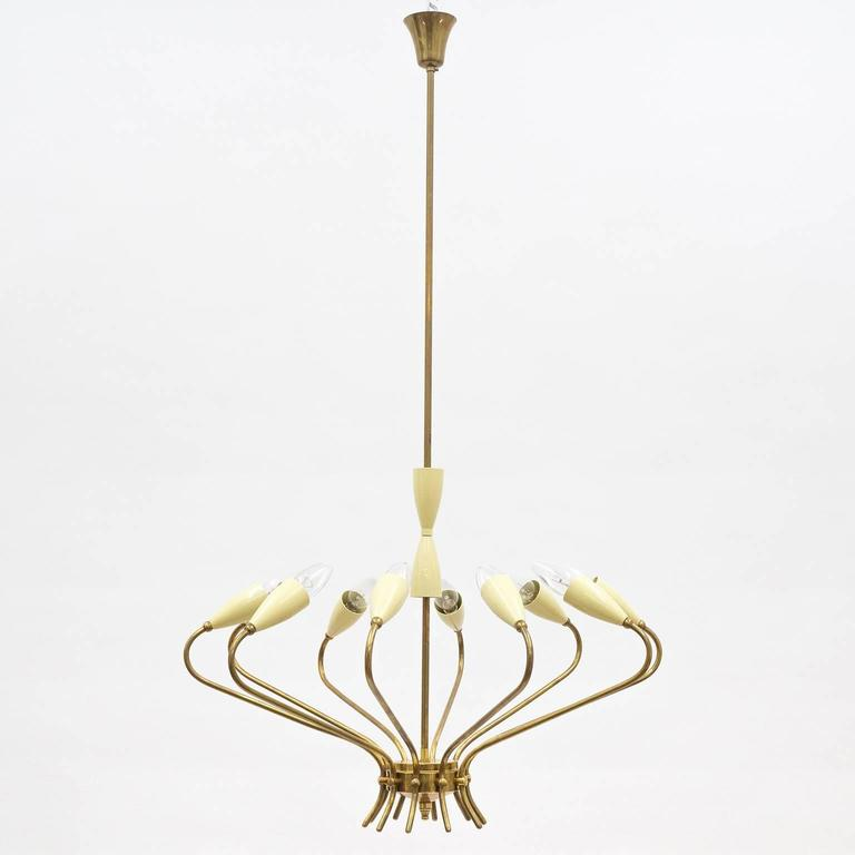 Ten-Arm Italian Brass Chandelier by Lumi Milano, 1950s 3