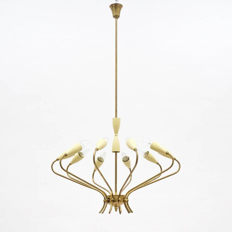 Ten-Arm Italian Brass Chandelier by Lumi Milano, 1950s 6