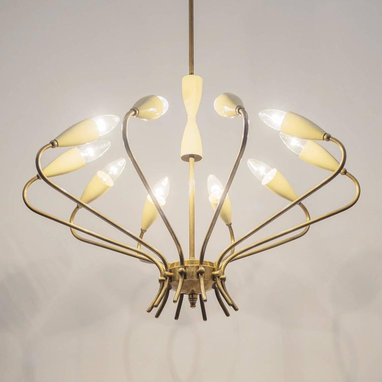 Ten-Arm Italian Brass Chandelier by Lumi Milano, 1950s 8
