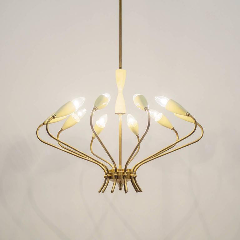 Ten-Arm Italian Brass Chandelier by Lumi Milano, 1950s 9