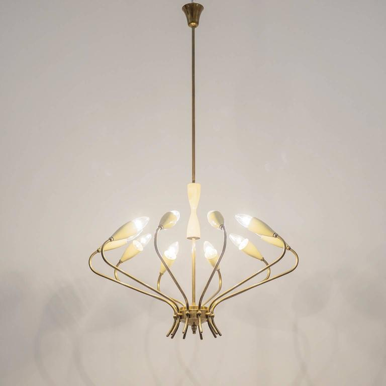 Ten-Arm Italian Brass Chandelier by Lumi Milano, 1950s 10