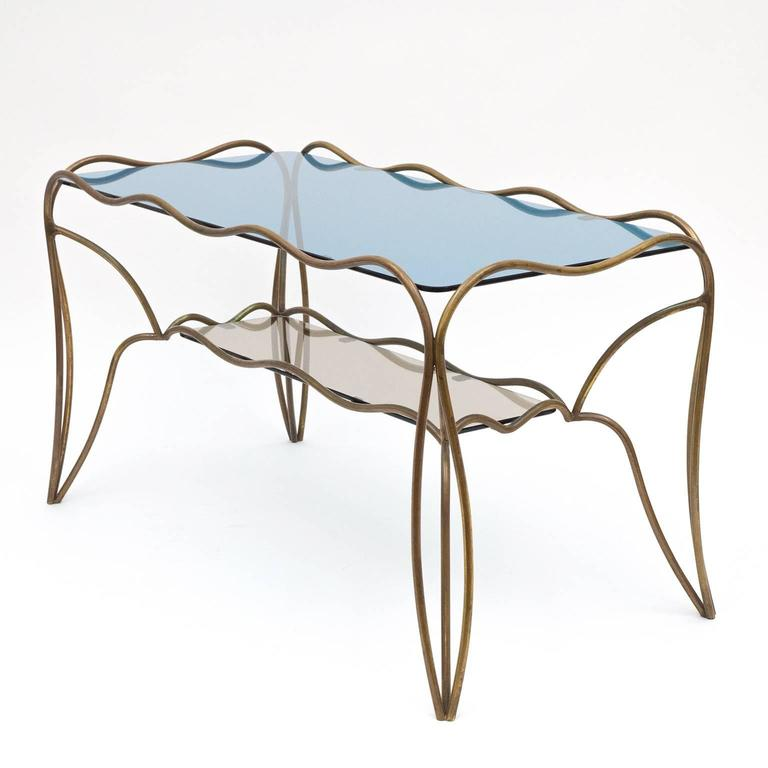 Unique Italian Brass and Colored Glass Cocktail Table, 1950s 2