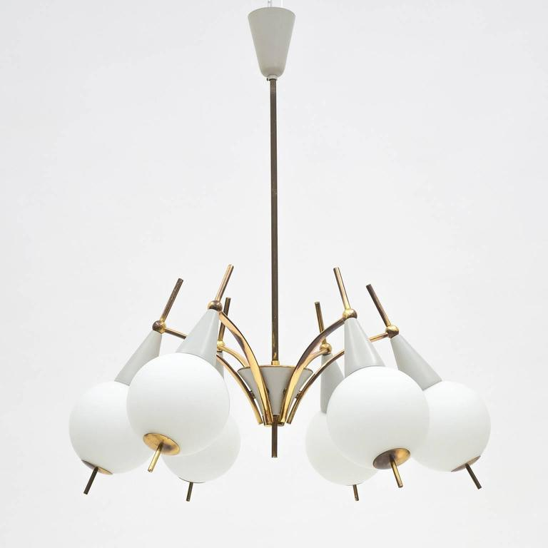 Italian Brass and Satin Glass Chandelier in the style of Angelo Lelii, 1950s For Sale 1