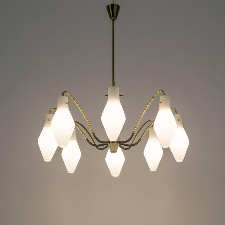 Eight-Arm Brass and Satin Glass Spider Chandelier, 1950s For Sale 1