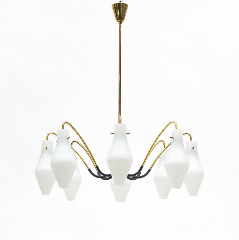 Mid-20th Century Eight-Arm Brass and Satin Glass Spider Chandelier, 1950s For Sale