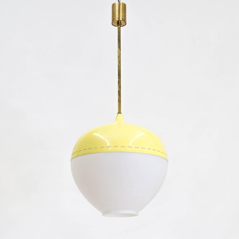 Brass Stilnovo Satin Glass and Lacquered Pendant, 1950s For Sale