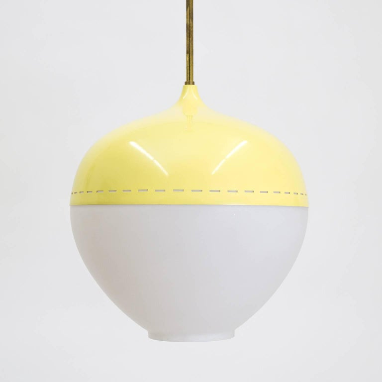 Mid-Century Modern Stilnovo Satin Glass and Lacquered Pendant, 1950s For Sale