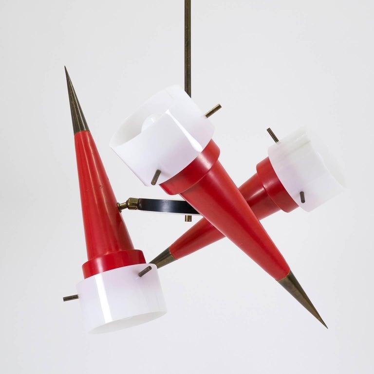 Lacquered Modernist Italian Sputnik Chandelier, circa 1955 For Sale