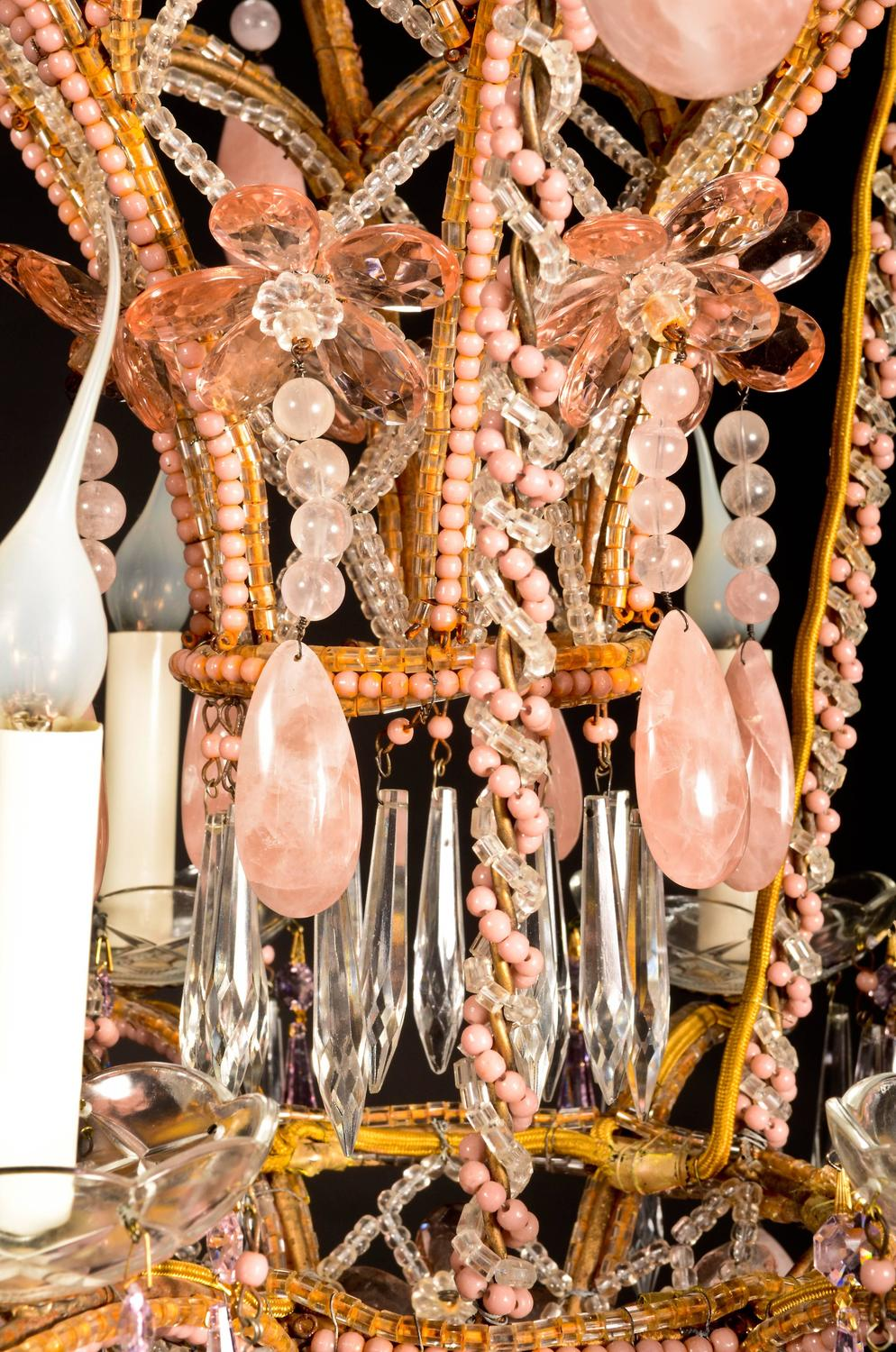 Superb Antique French Baguu00e8s Style Pink Rock Crystal and Crystal Chandelier For Sale at 1stdibs