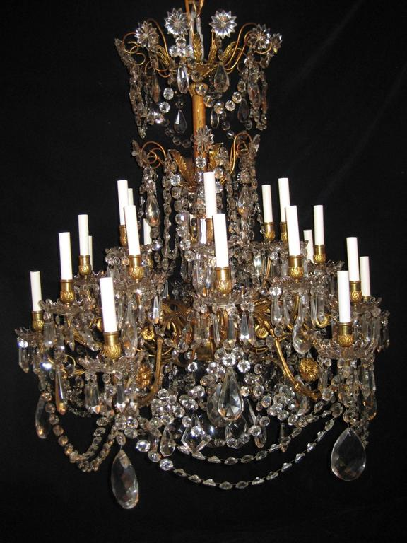 palatial antique french louis xvi baccarat gilt bronze and crystal chandelier 2