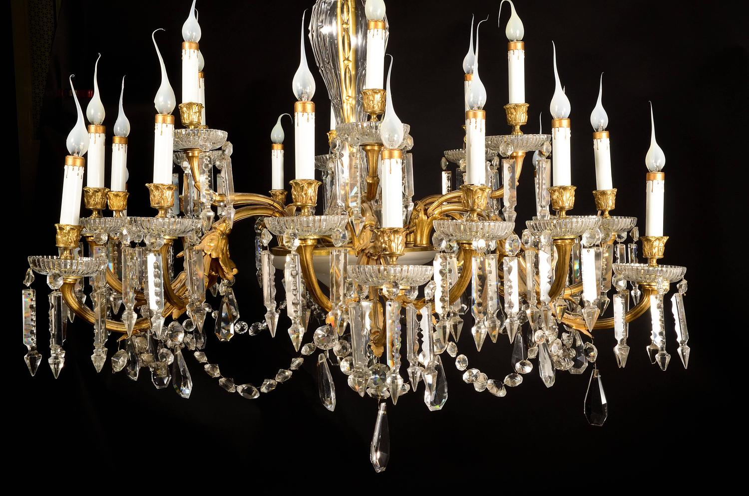 Antique French Louis Xvi Style Gilt Bronze And Crystal 24