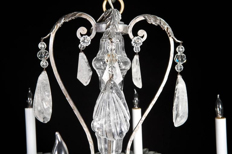 Fine French Bagues Style Silvered and Cut Rock Crystal Chandelier In Good Condition For Sale In New York, NY