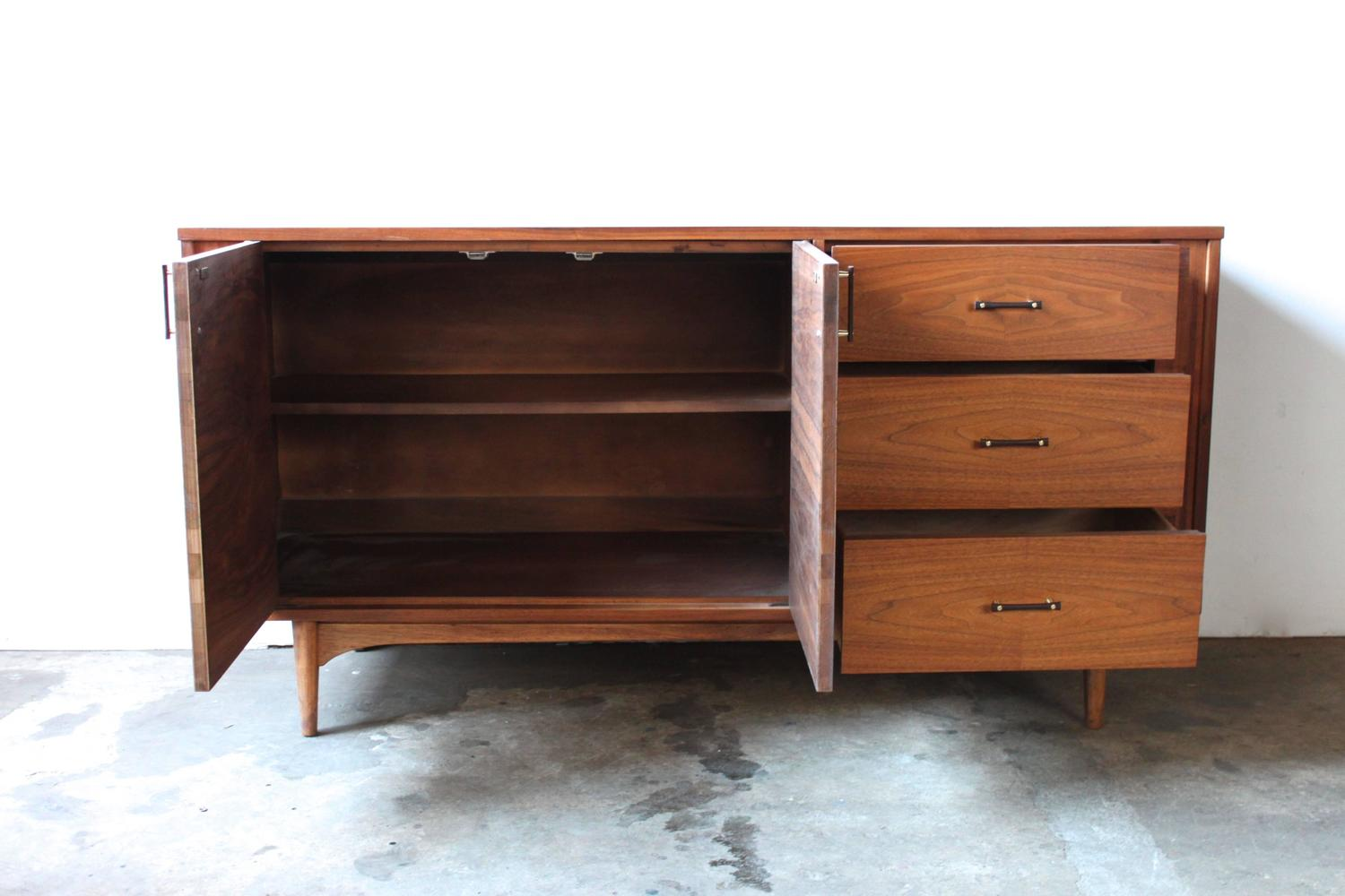 Walnut and Rosewood Credenza by Kroehler at 1stdibs