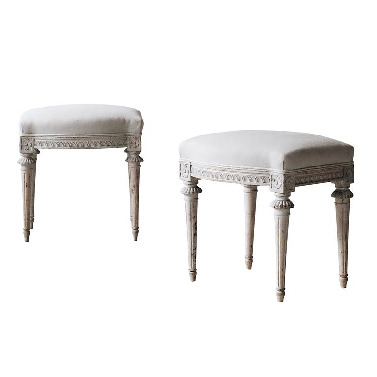 Pair of 19th Century Gustavian Stools For Sale