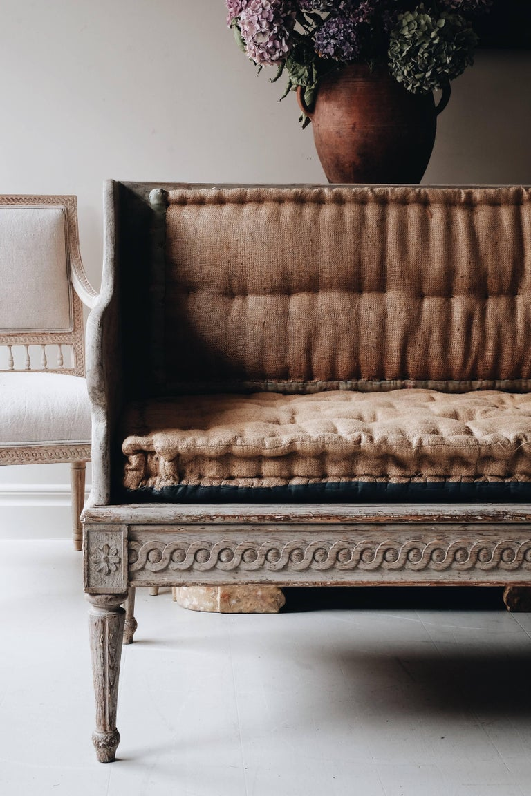 Fine and unusually large 18th century Gustavian period sofa in original color and fine guilloche carvings, circa 1790, Sweden.
