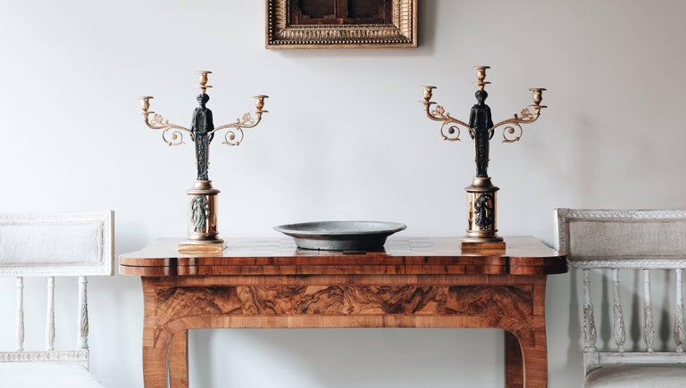 Bronze 19th Century Swedish Empire Candelabras For Sale