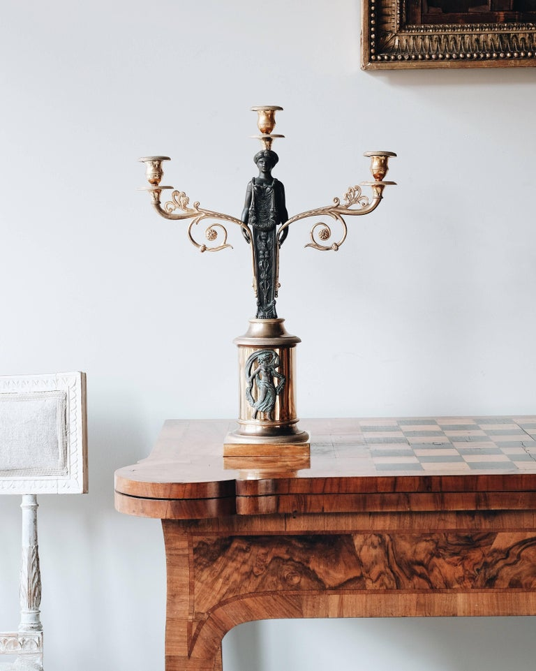 19th Century Swedish Empire Candelabras In Good Condition For Sale In Helsingborg, SE