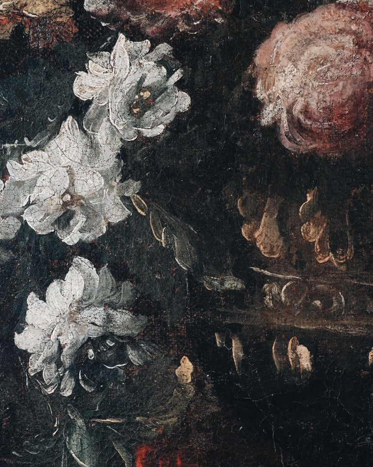 Canvas Pair of 18th Century Floral Still Life Paintings For Sale