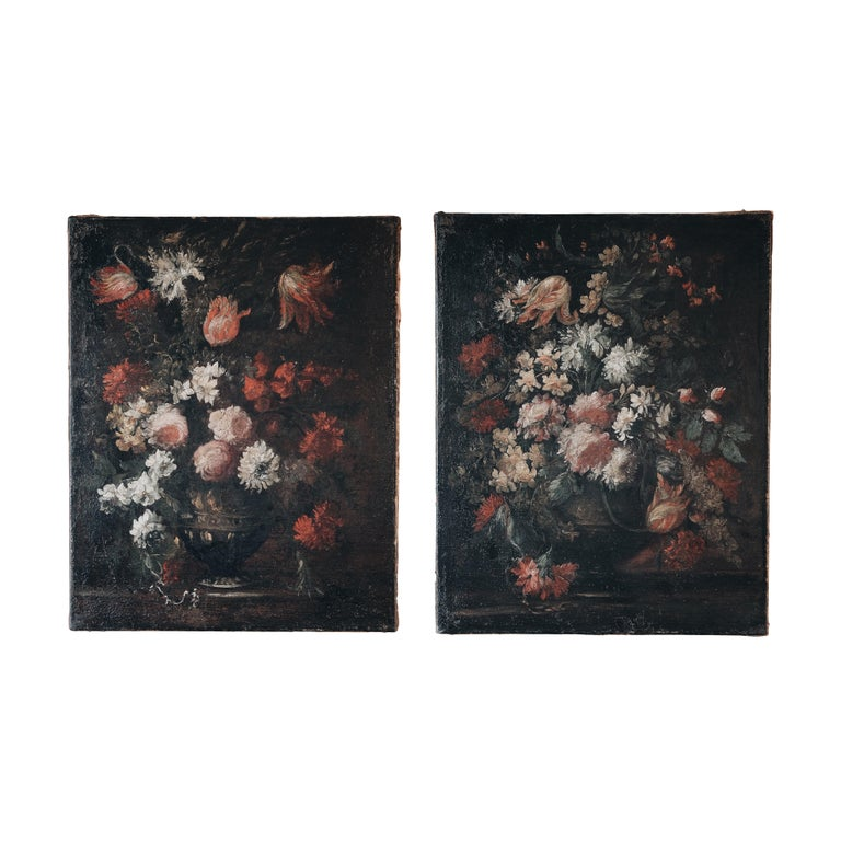 Pair of 18th Century Floral Still Life Paintings For Sale