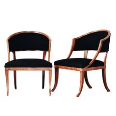Fine Pair of Swedish 19th Century Gustavian Barrel Back Armchairs