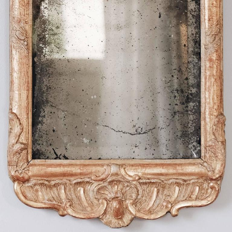 18th Century and Earlier 18th Century Swedish Rococo Giltwood Mirror