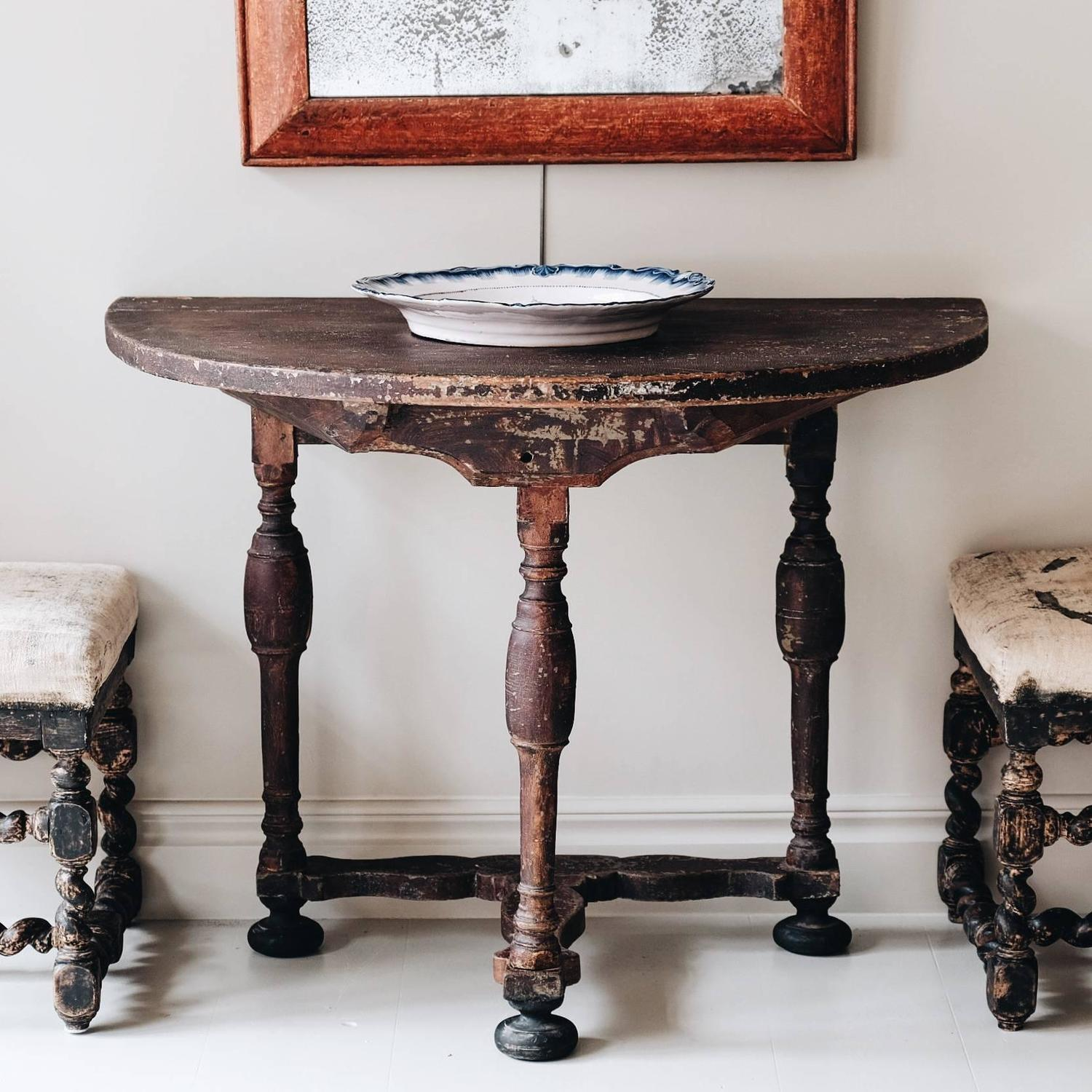 18th century swedish baroque demilune console for sale at - Baroque console table ...