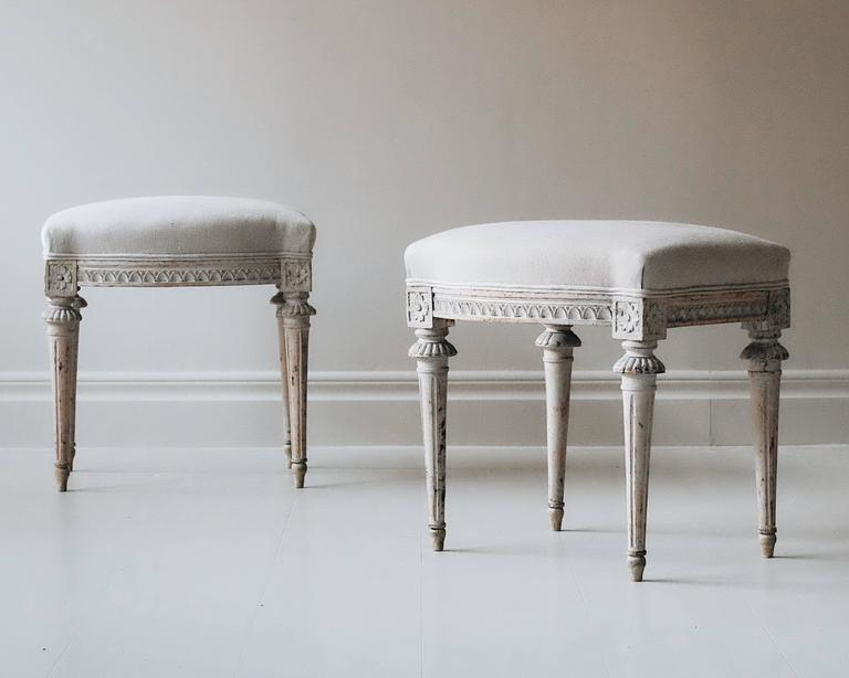 Painted Pair of 19th Century Gustavian Stools For Sale
