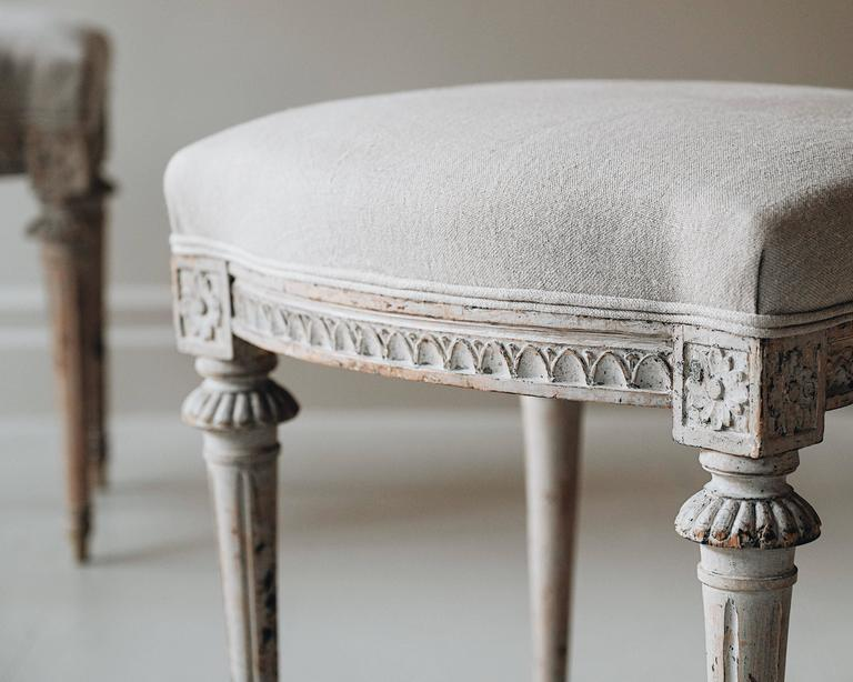Wood Pair of 19th Century Gustavian Stools For Sale