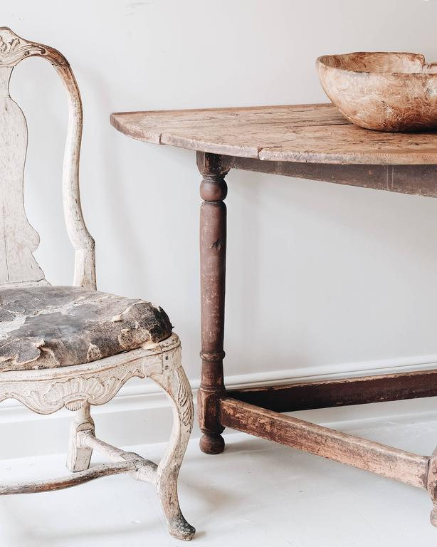 Wood Swedish 18th Century Baroque Demilune Console Table For Sale