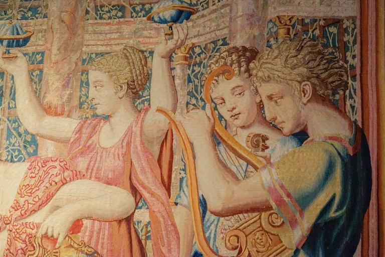Rare Ancient Tapestry, Psyche's Meal in the Palace of Cupid, circa 1660 2