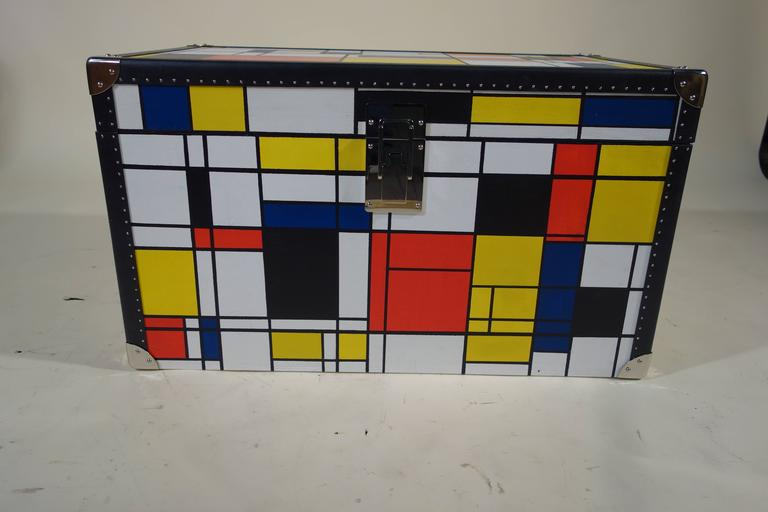 French Piet Mondrian Trunk For Sale